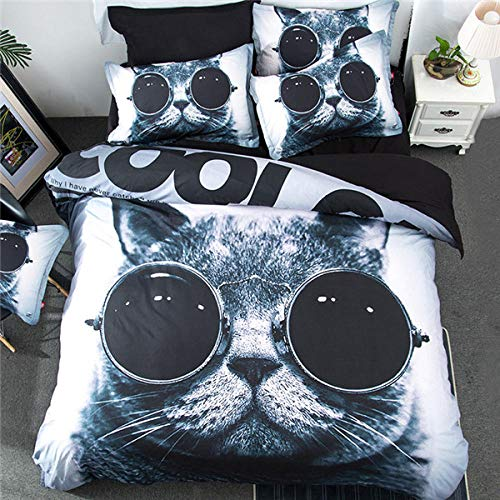 Gvvseso Printed Comforter Set double Grey animal cat with 2 Pillow Sham - Luxurious Brushed Microfiber - Down Alternative Comforter - Soft and Comfortable - Machine Washable 200 x 200 cm -Zipper clo