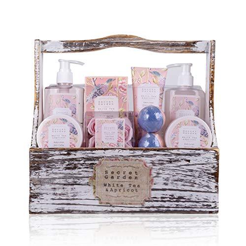Accentra Geschenkset Secret Garden Bade Und Dusch Set Mit White Tea & Apricot Duft - 8-Teiliges Geschenk-Set