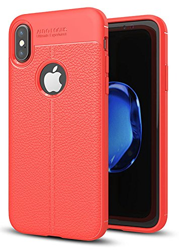 Annure Shockproof TPU Back Case Cover for iPhone Xs X (Red)