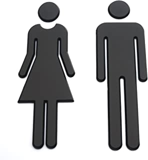Baimeixun 7.8inch Adhesive Backed Modern Acrylic Bathroom Sign Symbol Sign Men Women Toilet (Black)