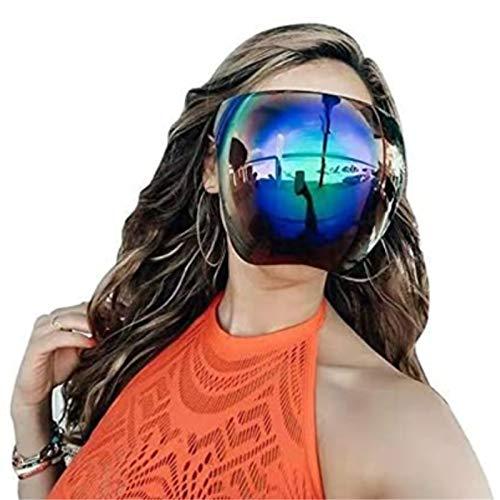 Sunglasses Visor Full Face Cover, Oversized Huge Big Shield Full Face Polarized Large Mirror Sunglasses, Daily Entertainment Protective Eyewear, UV Protection Large M-A-S-K (D)