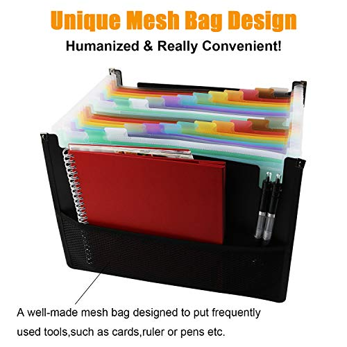 Expanding File Folders with Mesh Bag, 24 Pockets Accordian File Organizer, Expandable File Box with Cloth Edge Wrap, Portable Accordion File Organizer, Filing Box A4 Letter Size for Office, School Photo #5