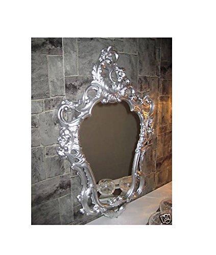 Lnxp EXKLUSIVER WANDSPIEGEL BAROCKSPIEGEL ANTIK BAROCK Rokoko REPRO Spiegel Silber 50X76 WANDDEKO