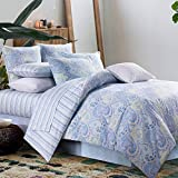 Duvet Cover Set 3Pcs Paisley Bedding Design 800 Thread Count 100% Cotton,Queen Size,Blue