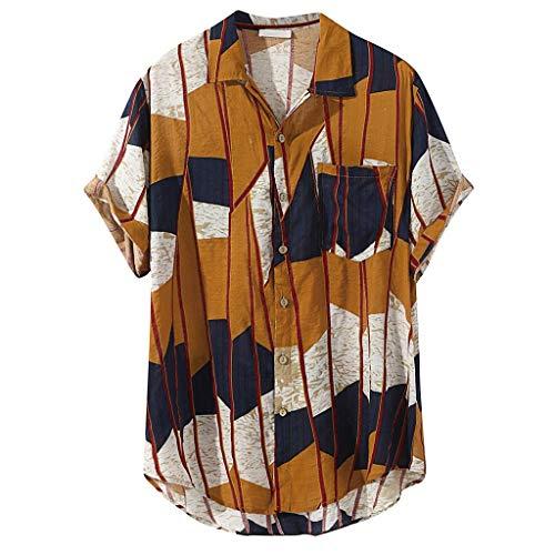 DOGZI Camisas para Hombre - Algodón y Lino Manga Corta Multi Color Vintage Bolsillo en el Pecho Dobladillo Redondo Suelto Camiseta