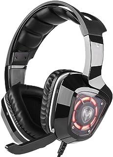 سماعات رأس للألعاب، سماعات ستيريو محيطية بخاصية الغاء الضوضاء ميكروفون مدمج، سماعات رأس للألعاب فوق الأذن ضوء LED، متوافقة...