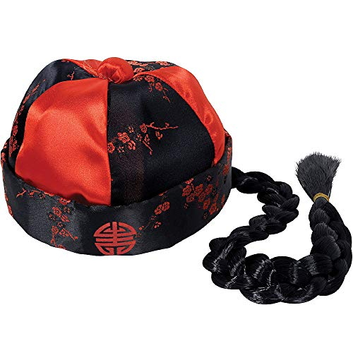 HalloCostume Cool Fun Costume Hat Theme Compatible with Chinese Emperor Hat with Braid