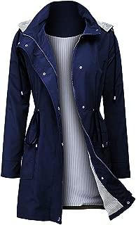 Women Light Rain Jacket Waterproof Active Outdoor Trench Raincoat with Hood Lightweight Plus Size for Girls
