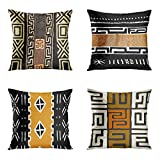 rouihot Set of 4 Throw Pillow Cover 18x18 Inch The Essence of African Tribal Mud Cloth Inspired Earth Colors Geometric Home Decor Pillowcase Square Cushion Cover for Sofa Bed Couch