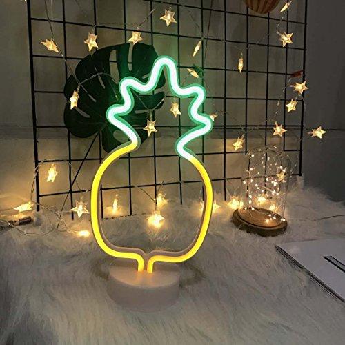 Leuchtreklamen LED Decor Nachtlicht Wanddekor Weihnachtsdekoration Geburtstagsparty Home LED Dekoleuchten Hochzeit Event Bankett Party Decor, Batterie und USB Power (Ananas mit Halter)
