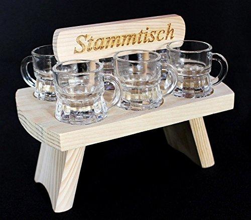 DanDiBo Schnapsbrett 20 cm mit Gravur Stammtisch mit 6 Gläser Schnapslatte Schnapsleiste