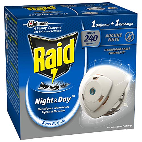 Raid Insecticides Ménagers Electrique Night/Day Diffuseur Mouches/Moustiques/Tigres 240 Heures