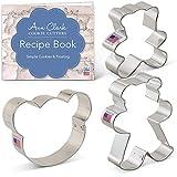 Ann Clark Cookie Cutters Juego de cortadores de galletas osito de peluche con libro de recetas - 3 piezas - Cara de oso y ositos de peluche - Ann Clark - Acero fabricado en EE.UU.