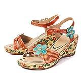 gracosy Sandalias Cuero Verano Mujer Estilo Bohemia Zapatos de Tacón Medio para Mujer de Dedo Cuña Sandalias Talla Grande Chanclas Romanas de Mujer Gris Rojo Azul Hecho a Mano Los Zapatos 2019