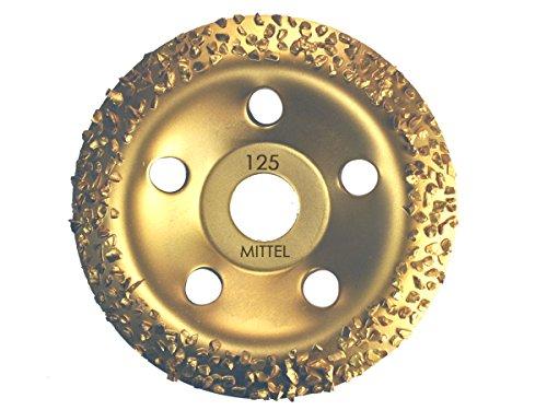 Hartmetall HM Schleiftopf Schleifteller 125 mm Hartmetallsplit Topfscheibe grob/mittel/fein (Mittel)