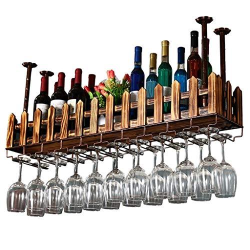 Estante para vino Metal Montado en la pared Hierro forjado Retro Botella de vino de madera Barra para estantería Artesanía Colgante Contador Portavasos Valla Estante para copas para restaurantes bar