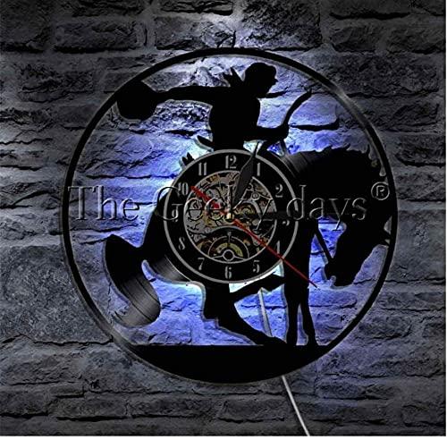 Reloj de pared de vinilo 1 pieza personalizado vaquero reloj de pared silla de montar caballo vinilo disco disco disco decorativo reloj caballero vintage arte de pared 30,5 cm