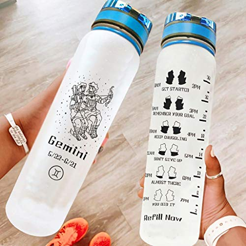 Shire Terry Botella de agua Gemini 32 oz no tóxica Tritan portátil reutilizable botella de agua deportiva para ejercicios de fitness, senderismo blanco 1000 ml