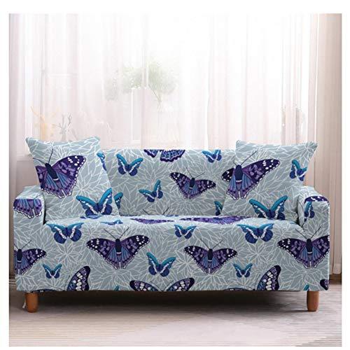 empty zeer elastisch bankstel, meubels, antislip beschermhoes van polyester spandex-stof, blauwe vlinder