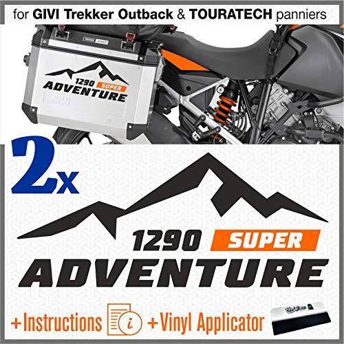 2 adhesivos compatibles con maletas laterales para 1290 ADV Touratech Givi Trekker Outback (negro)
