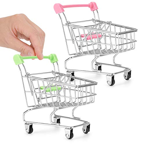 Liberty Imports 2 Pcs Mini Shopping Cart Trolley Desk Organizers, Cute Pen Pencil Holder Novelty Storage Toy for Stationery Supplies (Pink and Green)