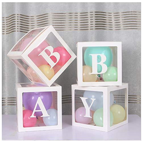 SUNSHINETEK 4 pièces Boîtes de Douche pour bébé Boîtes de Ballons de décoration de fête Transparentes, y Compris des Lettres de bébé pour Une décoration de Douche de bébé Polyvalente (Blanc)
