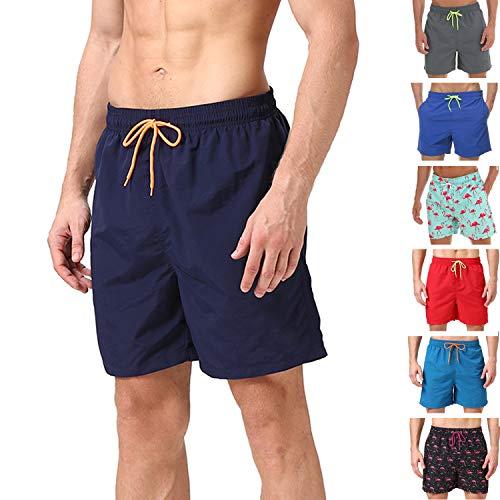 anqier Badeshorts für Männer Badehose für Herren Jungen Schnelltrocknend Schwimmhose Strand Shorts,Dunkelblau,L(EU)-MarkeGröße:XL-Taille 88-98cm