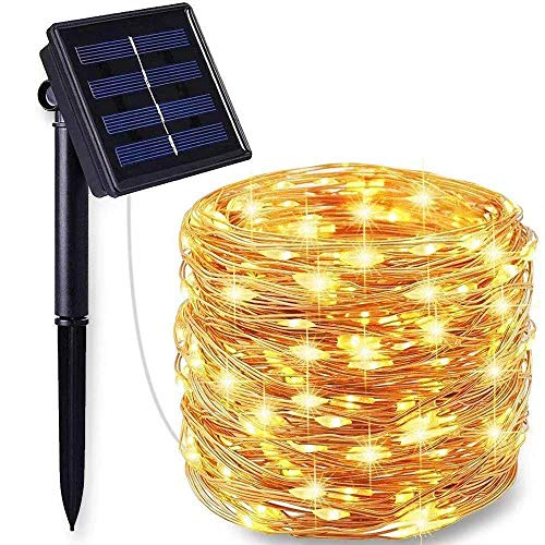 Tobbiheim Solar Fairy Lights Outdoor 100 LED Fairy Lights with Timer Copper Wire Fairy Lights 12 Metres 8 Modes Lighting Waterproof IP65 for Garden, Patio, Balcony, Party, Outdoor Warm White