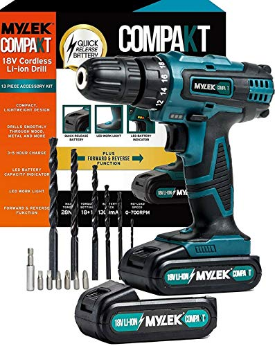 MYLEK 18V Cordless Drill Driver Set, Lithium Ion Battery Pack x 2, Diy Combi 13 Piece Accessory Screwdriver Dill Bit Kit, LED Worklight, 18 V