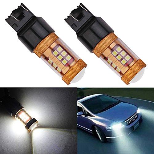 TABEN Lentille de projecteur 1700 Lumen 7443 W21/5W 28-EX 3030 Chipsets 7444 7443NA Ampoules LED utilisées pour Les Feux de recul, Les Clignotants, Les Feux arrière, Blanc 6000K 12V-24V (Pack de 2)