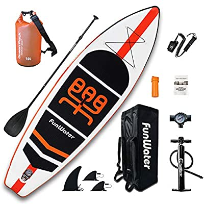 """FunWater Inflatable Stand Up Paddle Boards 11'×33""""×6"""" Ultra-Light (17.6lbs) SUP for All Skill Levels Everything Included with 10L Dry Bags, Board, Travel Backpack, Adj Paddle, Pump, Leash, Repair Kit"""