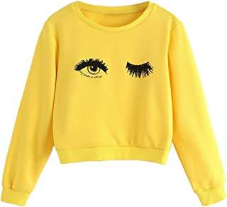 Fmestery Teen Kids Girls Sweatshirts Pullover Eye + Eyelash Print Cute T-shirt Blouse Tops Clothes 2-12T
