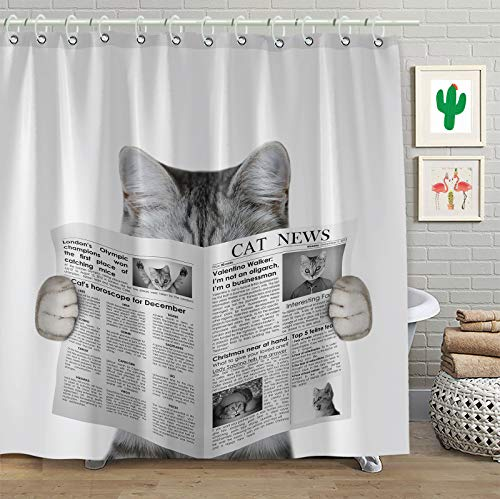 Faitove Funny Cat Reading a Newspaper Shower Curtain Grey Vintage Bath Decor Curtains Polyester Fabric Waterproof Bathroom with Hooks 72'(W) x 72'(L)