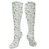 Calcetines de sandalia, alegre patrón feliz con continuo colorido irregular, ilustración divertida, calcetines divertidos para mujer, calcetines de algodón para mujer