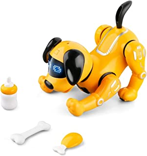 Remote Control Robot Dog Toy for Kids, RC Robot Dog Toys Stunt Puppy Voice Control Toys Handstand Push-up Electronic Pets ...