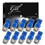 GLL 10pcs Blue Super Lumineux T10 194 168 W5W 501 LED Ampoules avec 5-5050-SMD Pour Voiture Intérieur Dôme Carte Porte Tronc Tableau de Courtoisie Lumières de Plaque D'immatriculation(DC 12V)