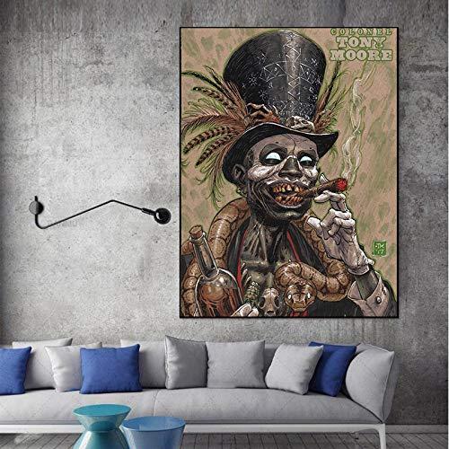 NIMCG Kunst Halloween Leinwand Malerei Bild Rauchen Baron Samedi Wandkunst Poster Auf Leinwand Moderne Wohnkultur (Kein Rahmen) 50x70CM