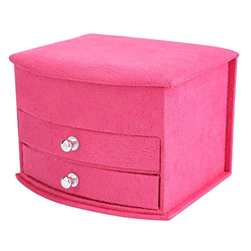 Jewelry Storage Box 4 Colors,for Necklaces, Earrings, Bracelets with Mirror(Rose red)