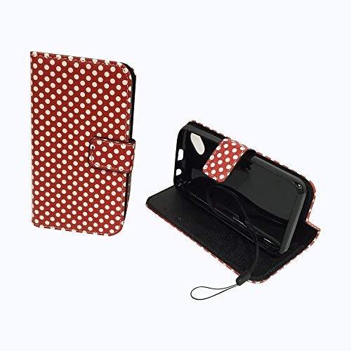 König Design Handyhülle Kompatibel mit Wiko Sunny Handytasche Schutzhülle Tasche Flip Hülle mit Kreditkartenfächern - Polka Dot Weiße Punkte Rot