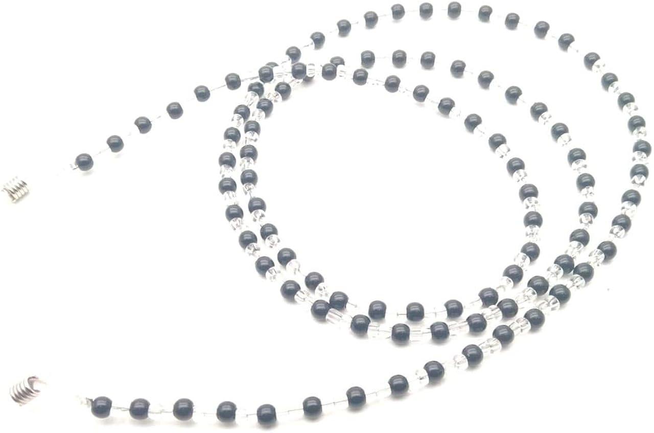 RSINC Glasses Chain Holder for Men, Women, Children Fake Black + White (Pearl) Beaded Spectral Cord Non-slip Sunglass Chain Metal Alloy Holder Cord 80cm