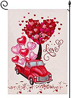 YaoChong Valentines Day Garden Flag,Red Truck and Love Hearts Tree for Valentine's Day Rustic Farmland Burlap Yard Lawn Ou...