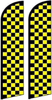 2 Windless, Swooper, Flutter, Feather, Banner Flags CHECKERED YELLOW & BLACK