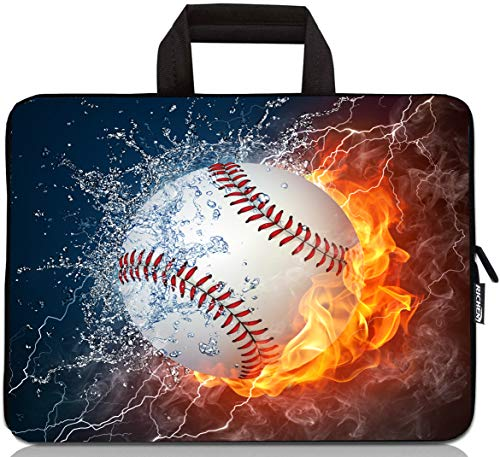 12 inch Neoprene Laptop Carrying Bag Chromebook Case Tablet Travel Cover with Handle Zipper Carrying Sleeve Case Bag Fits 11 11.6 12 12.1 12.5 inch Netbook/Laptop (11-12.5 inch, Baseball Fire)