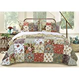 2 Pc Cottage Country Style Patchwork Twin Quilts, Multicolor Jacobean Print Farmhouse Floral Bedding Charming Blooming Flowers Rustic Vintage Prairie-Theme Texture Touch Traditional Soft Bedspread Set