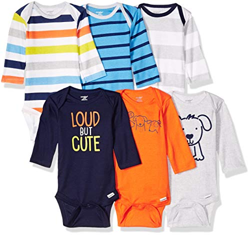 Onesies Brand Baby Boys' 6-Pack Long Sleeve Bodysuits, Dog, 6-9 Months