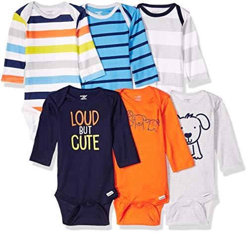 Onesies Brand Baby Boys' 6-Pack Long Sleeve Bodysuits, Dog, 6-9 Months