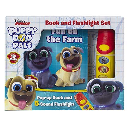 Disney Junior Puppy Dog Pals - Fun on the Farm Pop-up Book and 5 Sound Flashlight - PI Kids