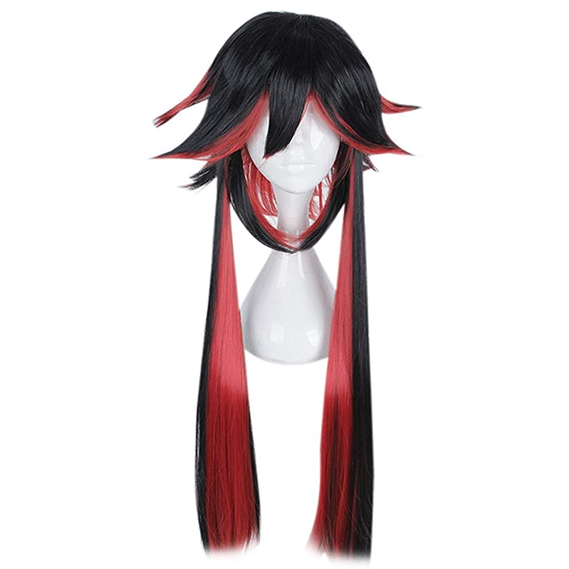 Koloeplf 特別な外形スタイリングロングヘアコスミックスカラーウィッグマフィアシリーズアニメウィッグコスプレウィッグ (Color : Black and red color)