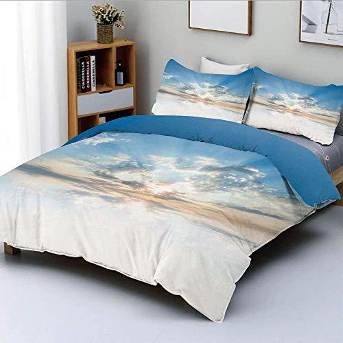 Juego de funda nórdica, aire inspirador vívido con nubes Atmósfera de reflexión meteorológica Impresión fotográfica Juego de cama decorativo de 3 piezas con 2 fundas de almohada, azul pálido, el mejor