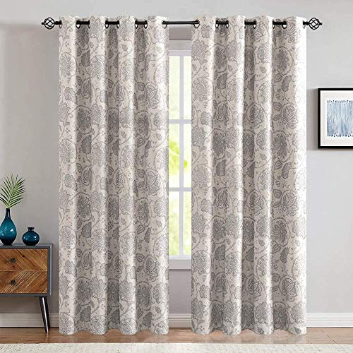 jinchan Floral Scroll Printed Linen Textured Curtains Grommet Top Ikat Flax Textured Medallion Design Jacobean Room Darkening Curtains Retro Living Room Window Covering Grey 84 inch Long Two Panels